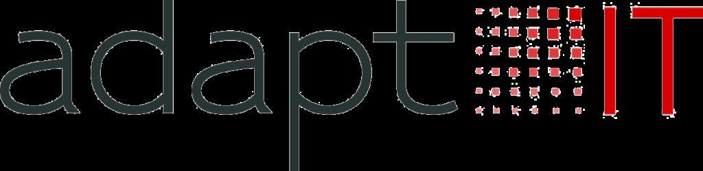 Logo der Firma Adapt IT Schriftzug schwarz rot