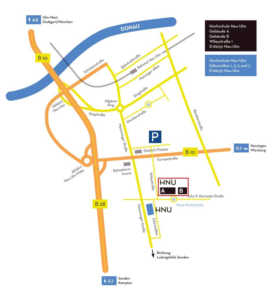 Karten mit der Anfahrt zum Gebäude der Hochschule Neu-Ulm